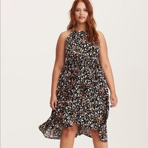 TORRID Floral High Neck Challis High Low Dress 2X